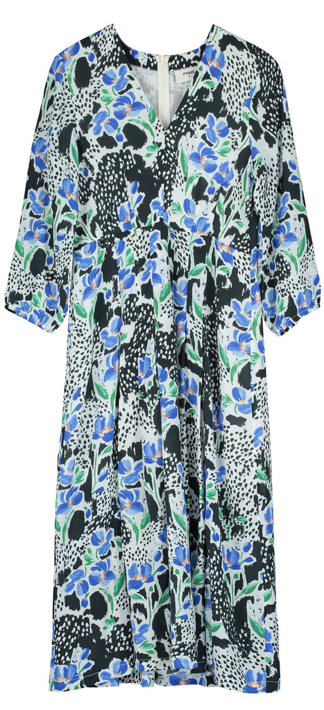 Ingrid Silk Dress in Bluebell Print