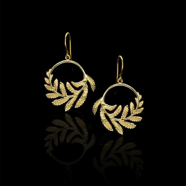 Gold Plated Fern Hoop Earrings