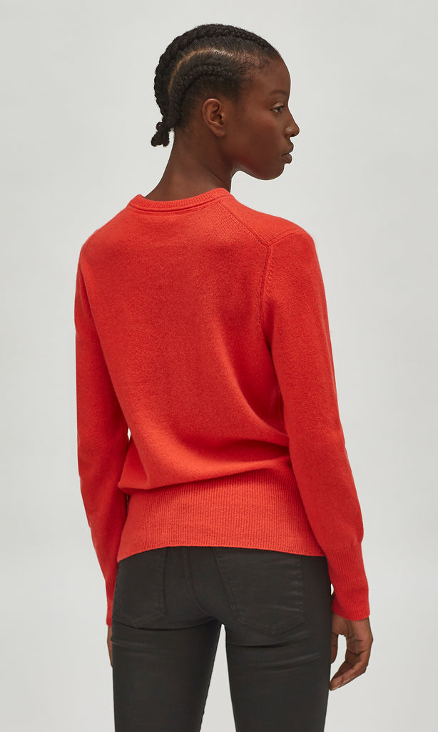 Sanni Crew Neck Cashmere Jumper in Ruby Rouge