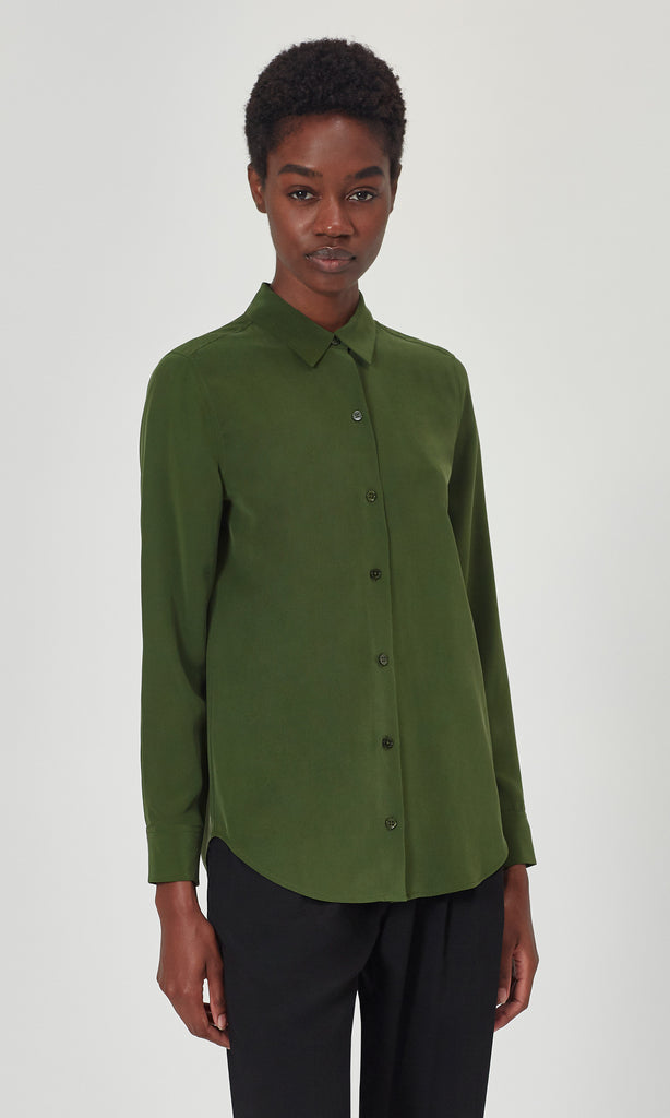 Essential Silk Shirt Foret Green