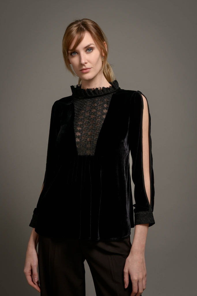 Hilda Top in Black Velvet