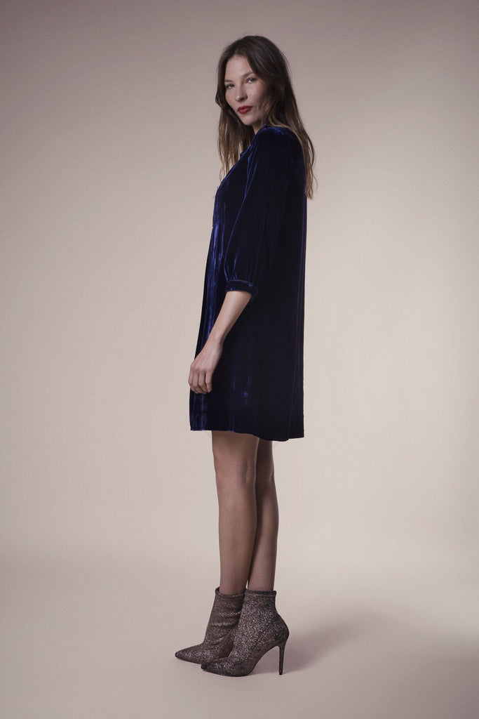 Chloe Dress in Navy Velvet