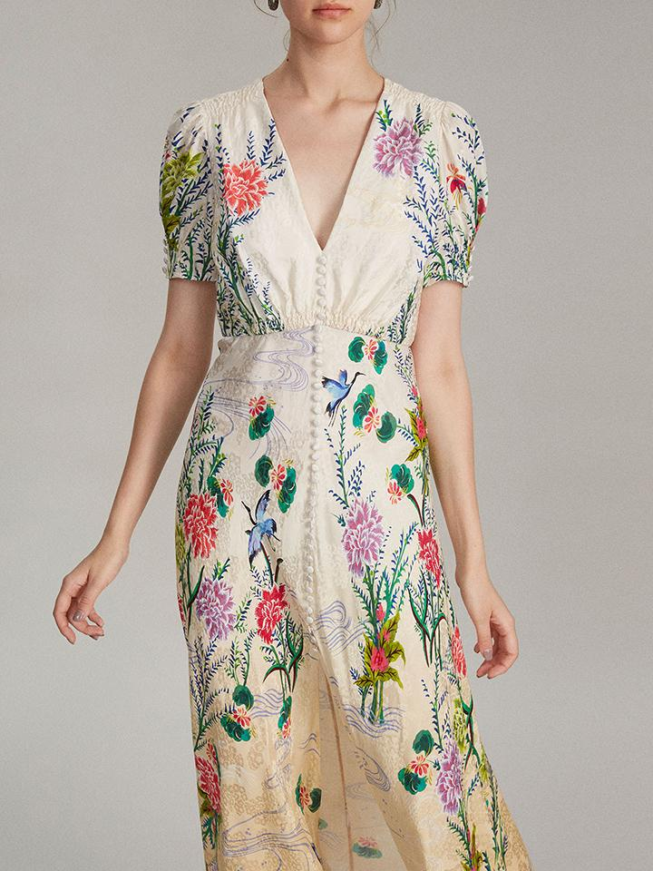Lea Long Dress in Ivory Camelia Print