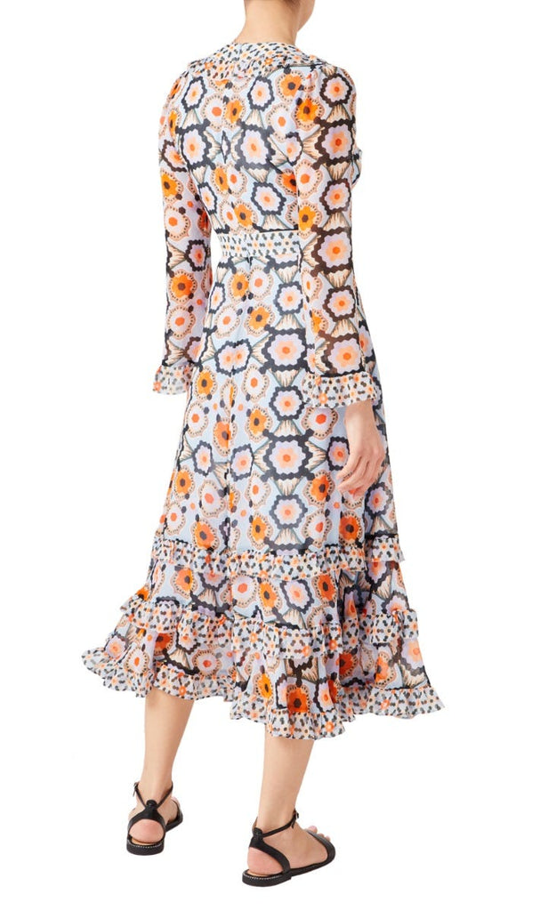 Crochet Print V-Neck Dress in Faded Demin Story