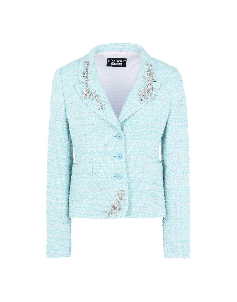 Aqua Tweed Jacket with Pin Detail Sparkle