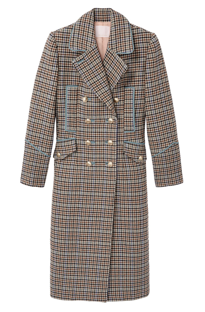 Houndstooth Coat in Camel Combo