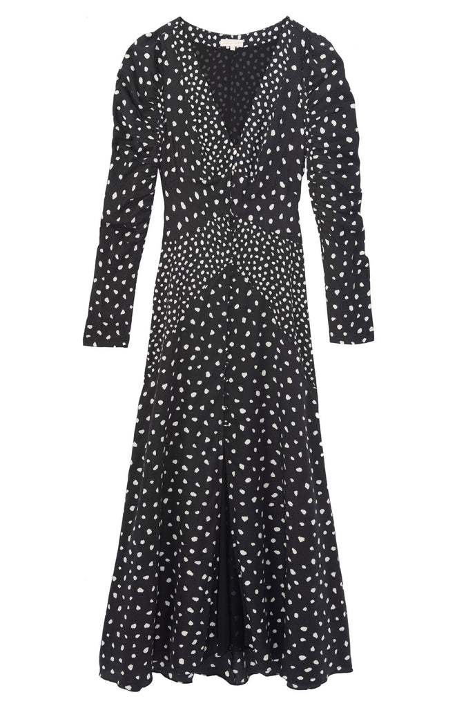 Long Sleeve Dot V Neck Dress