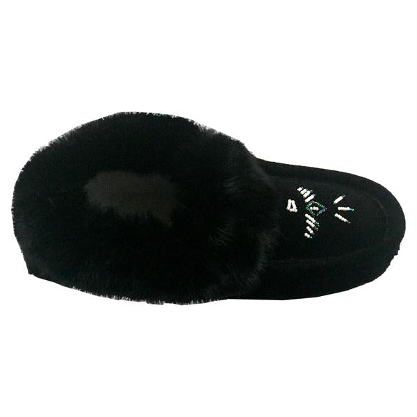 Ladies Fur Trim Slipper in Black