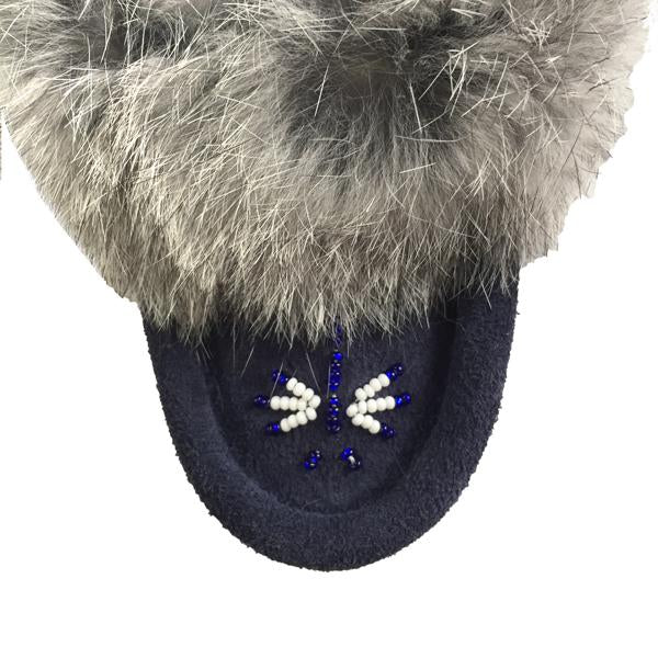 Baby Fur Trim Slipper in Navy Blue