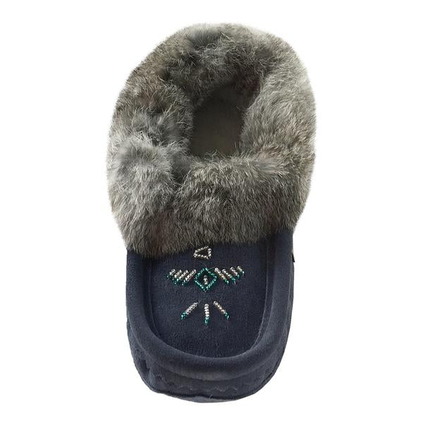 Ladies Fur Trim Slipper in Navy Blue