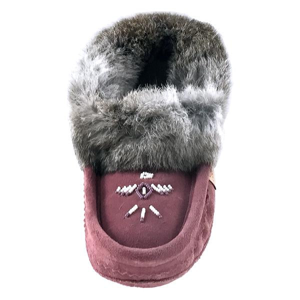 Ladies Fur Trim Slipper in Burgundy