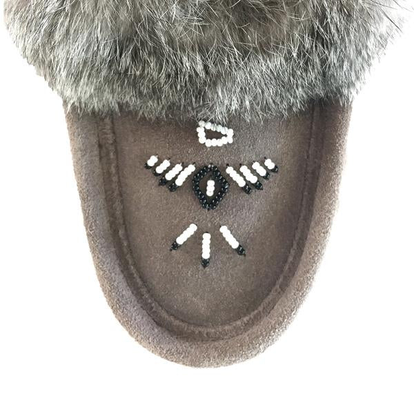 Ladies Fur Trim Slipper in Grey