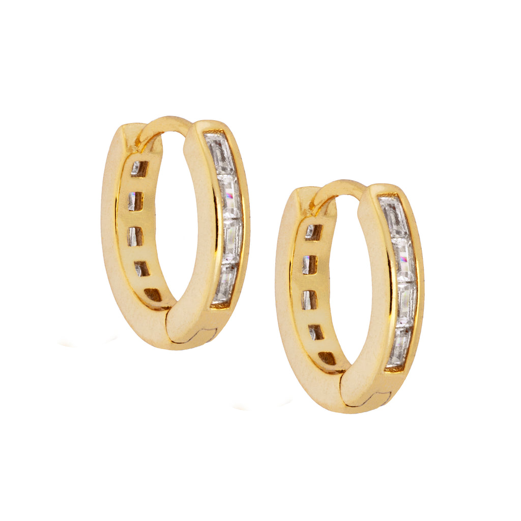 Baguette Zircon Hoop Earrings