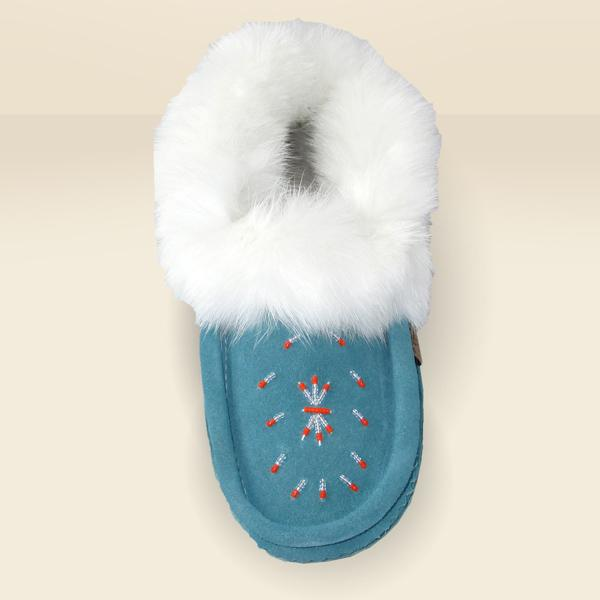 Ladies Fur Trim Slipper in Turquoise