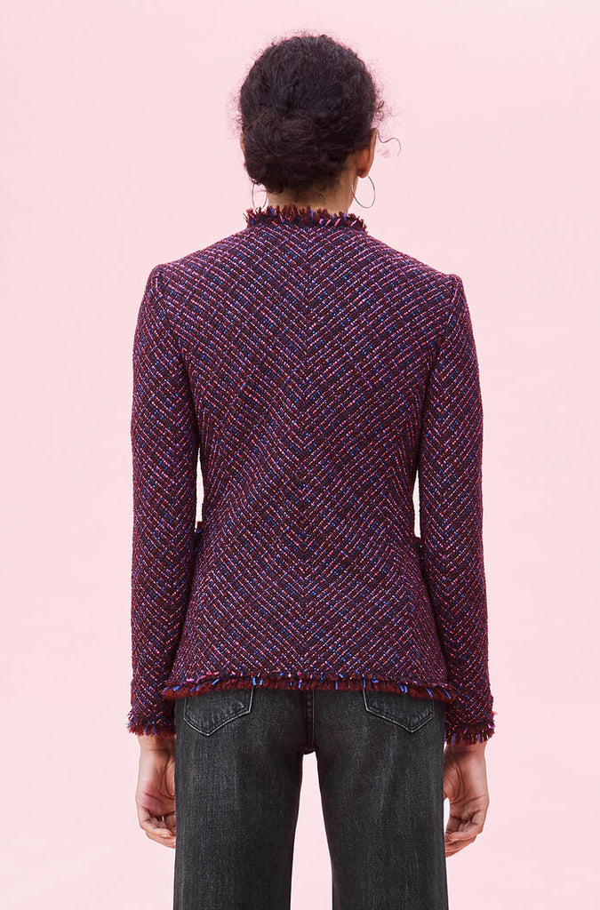 Multi Tweed Jacket in Plum Combo