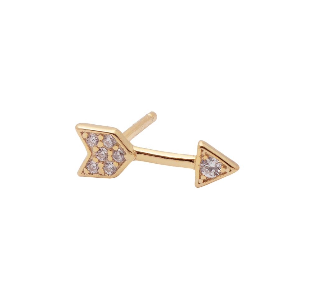 Zircon Arrow & Lightning Bolt Stud Earrings