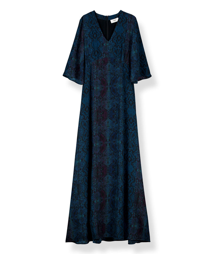 Beatrice Silk Printed Maxi Dress in Dark Python