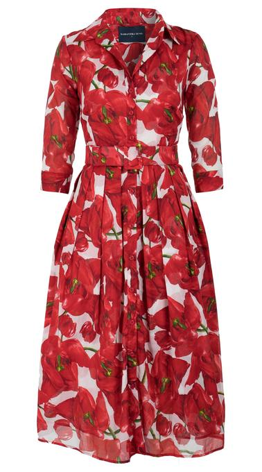 Audrey Dress in White and Deep Red Black Tulip Print Musola