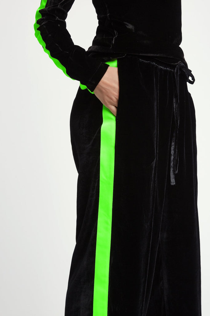 Wide Leg Velvet Jogger in Black with Green