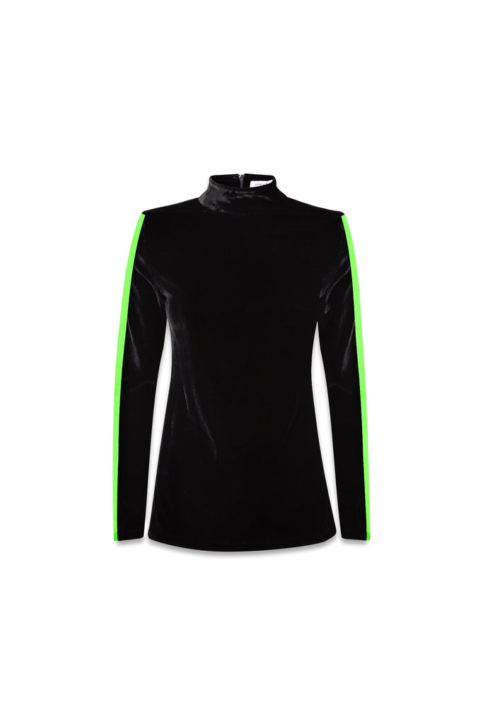 Stretch Velvet Polo Neck in Black with Neon Green