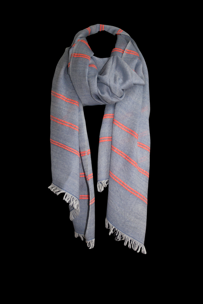Blue and Orange Stripe Shawl