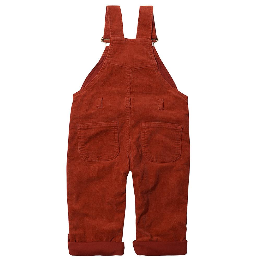 Brick Red Corduroy Dungarees