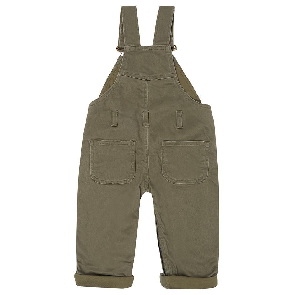 Olive Green Dotty Dungarees