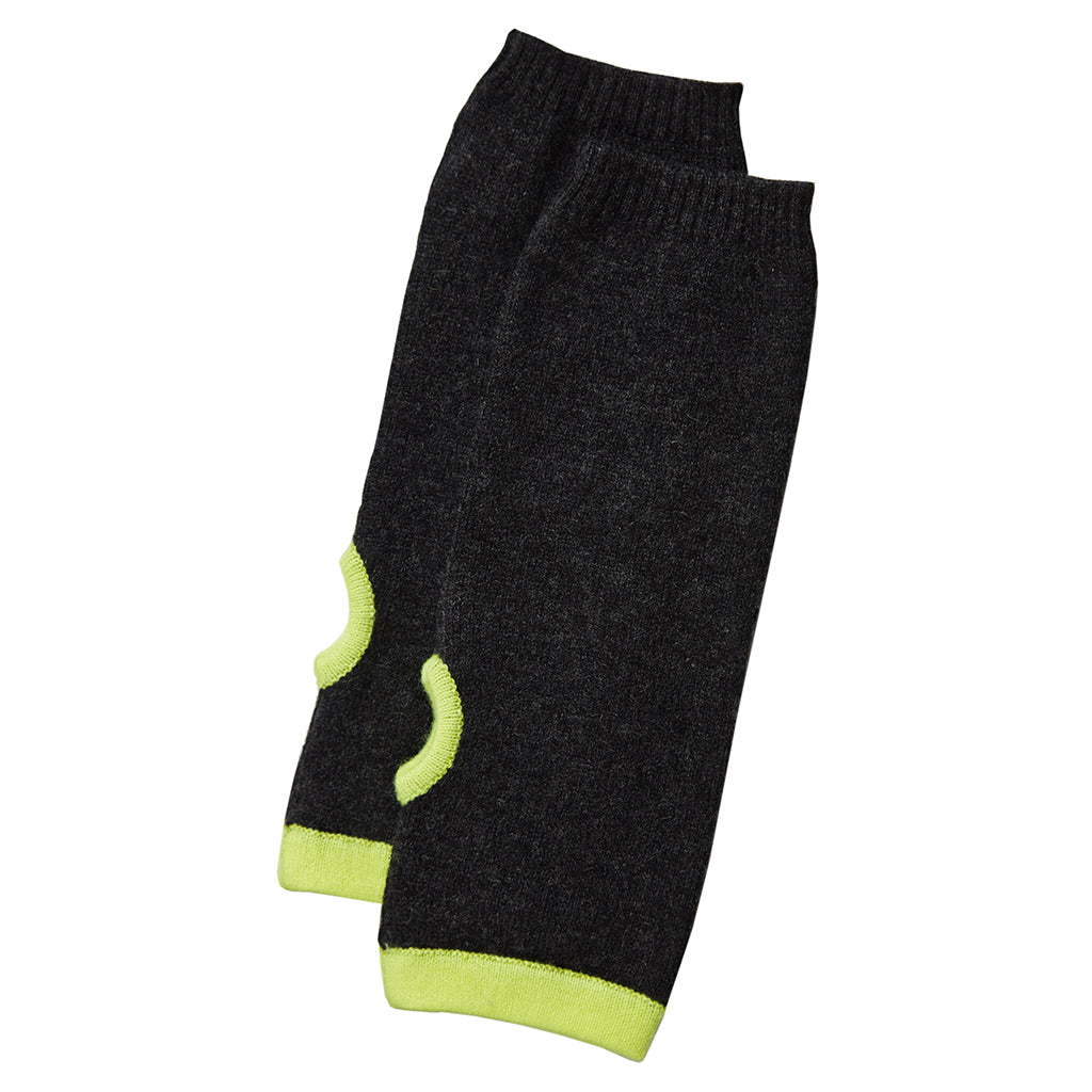 Cashmere Wrist Warmer in Charcoal/Yellow