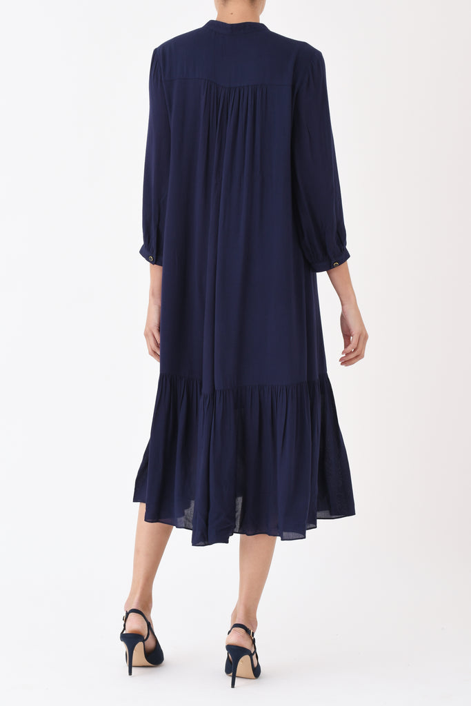 Claude Dress in Navy Rayon