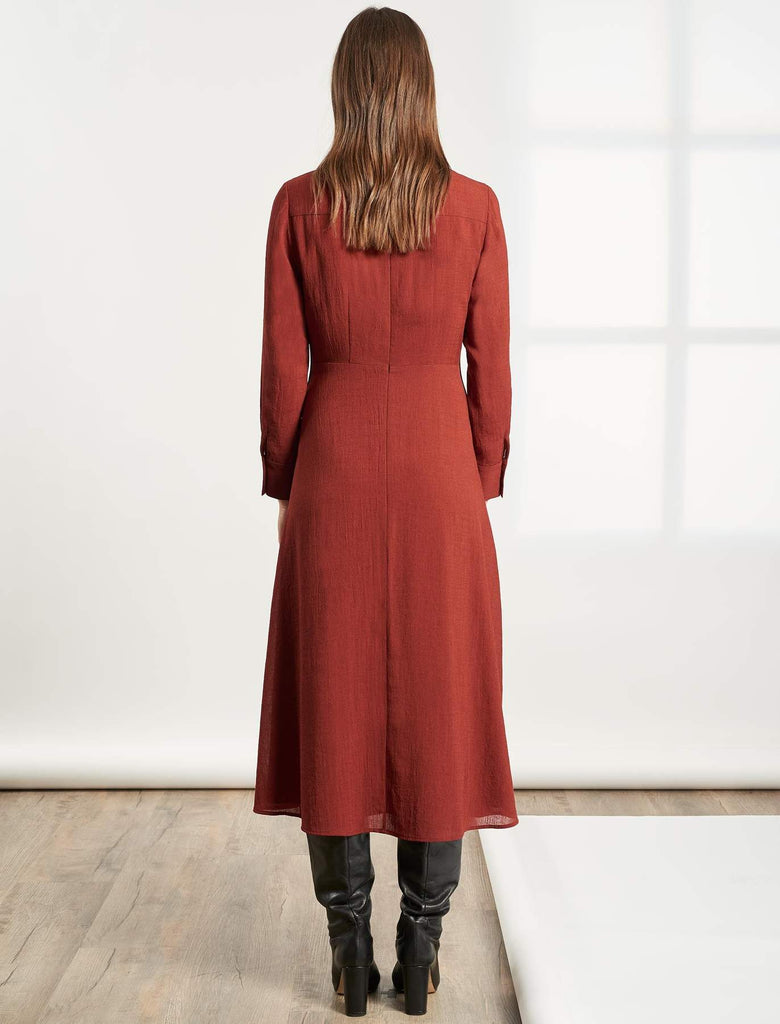 Veronica Collared Long Sleeve Dress in Rust