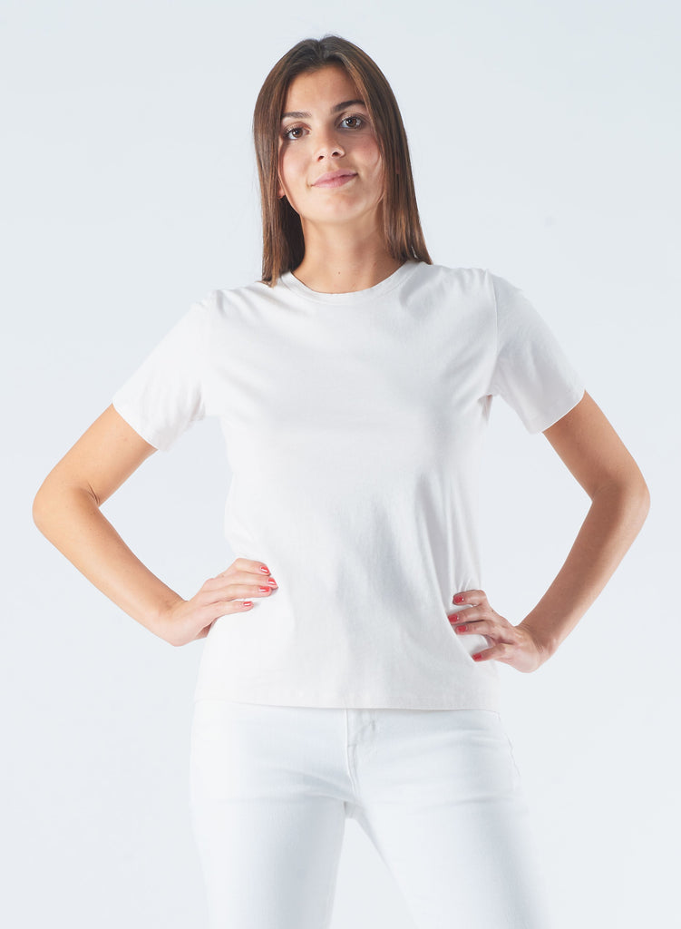 Round Neck Silk Touch T-Shirt in White