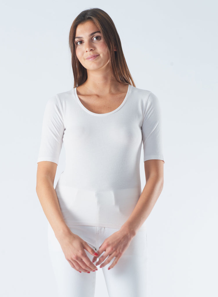 U Neck Silk Touch T-Shirt in White