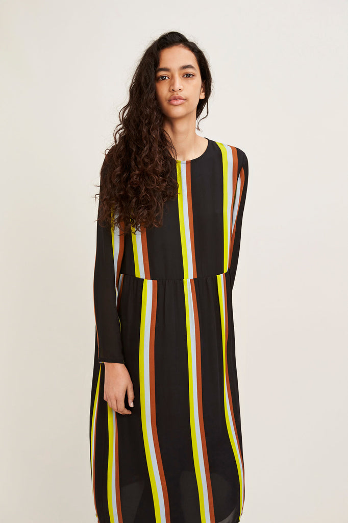 Raven Dress in Black Multi Stripe