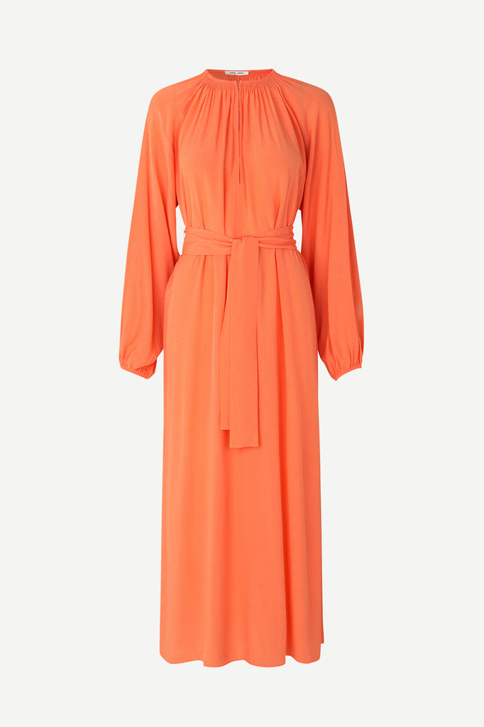 Kaia Long Dress in Bright Coral