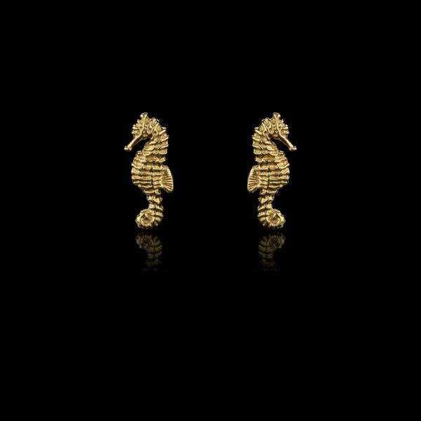 Small Seahorse Stud Earrings Gold Plated