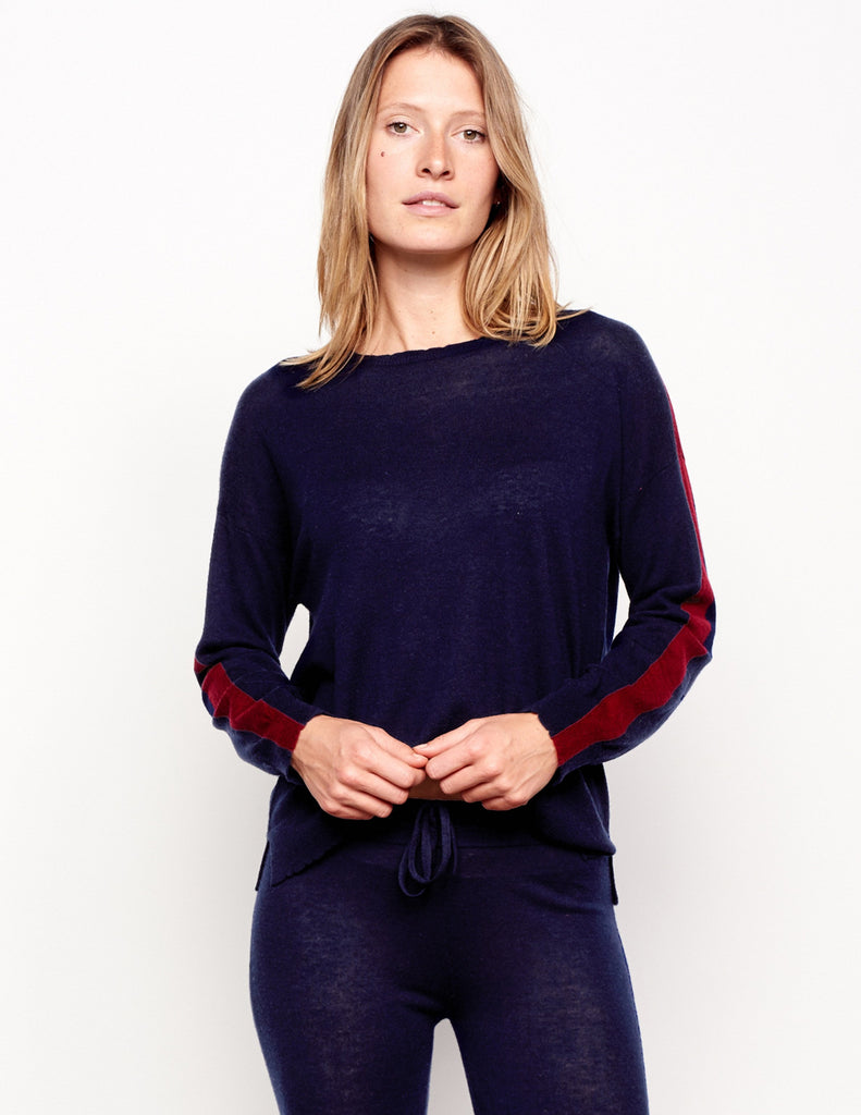 Stripes Crew Neck  in Midnight
