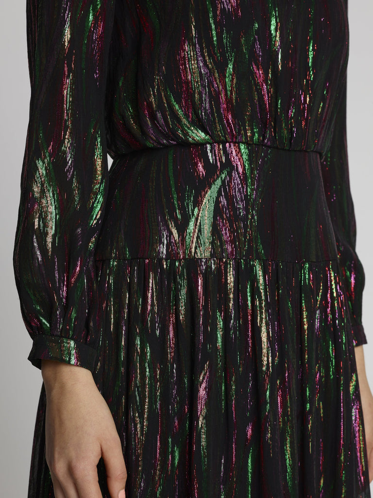Isabel Long Metallic Rainbow Dress