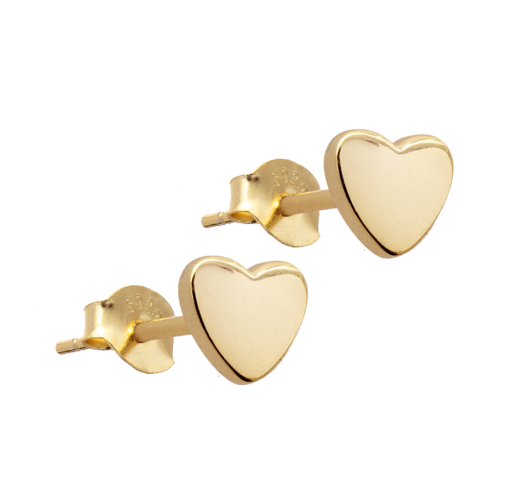 Gold Heart Stud Earrings - PAIR