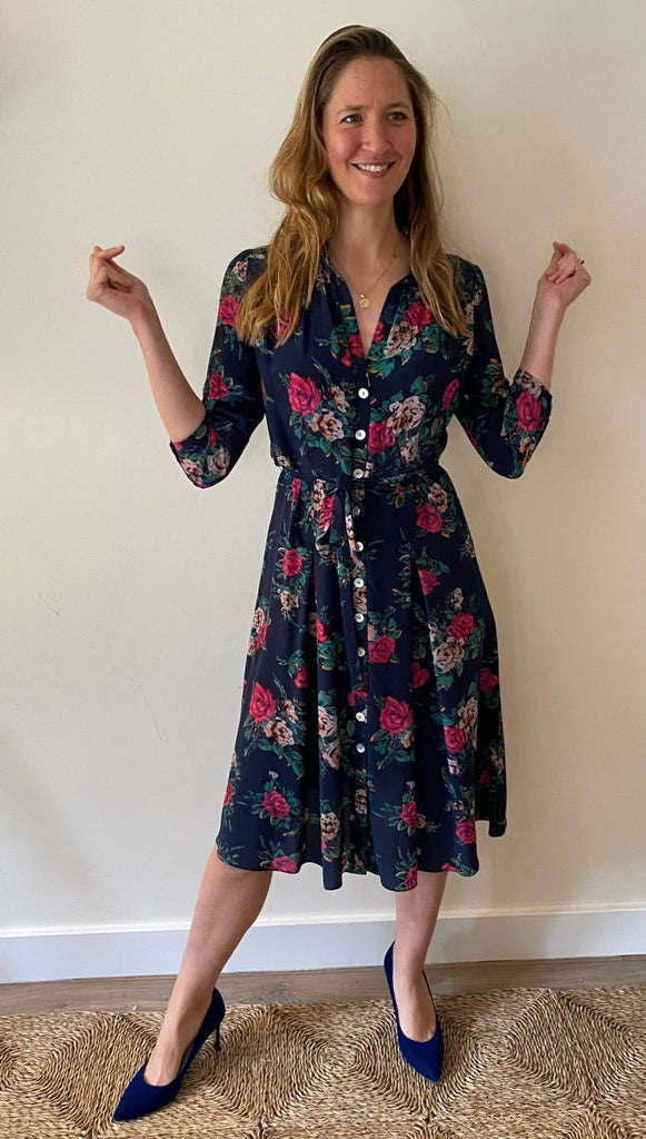 Shirtwaister Silk Dress in Blue Rose Print