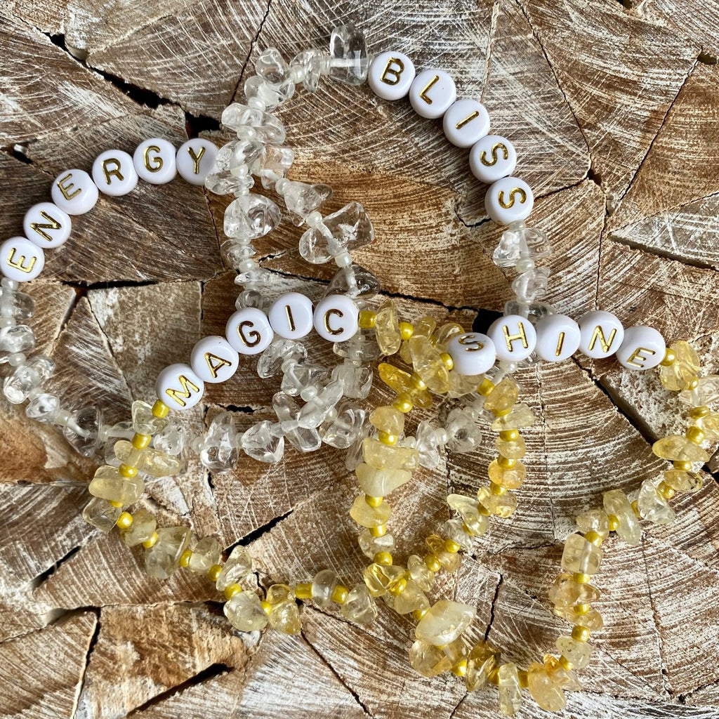 Clear Quartz Crystal Bracelet with white beads