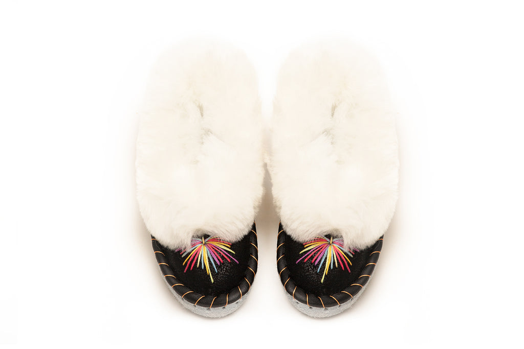 Rainbow Sheepskin Slippers