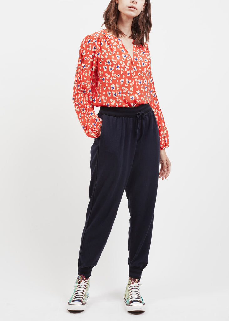 Jamie Pin-tuck Sleeve Top in Red Animal Print