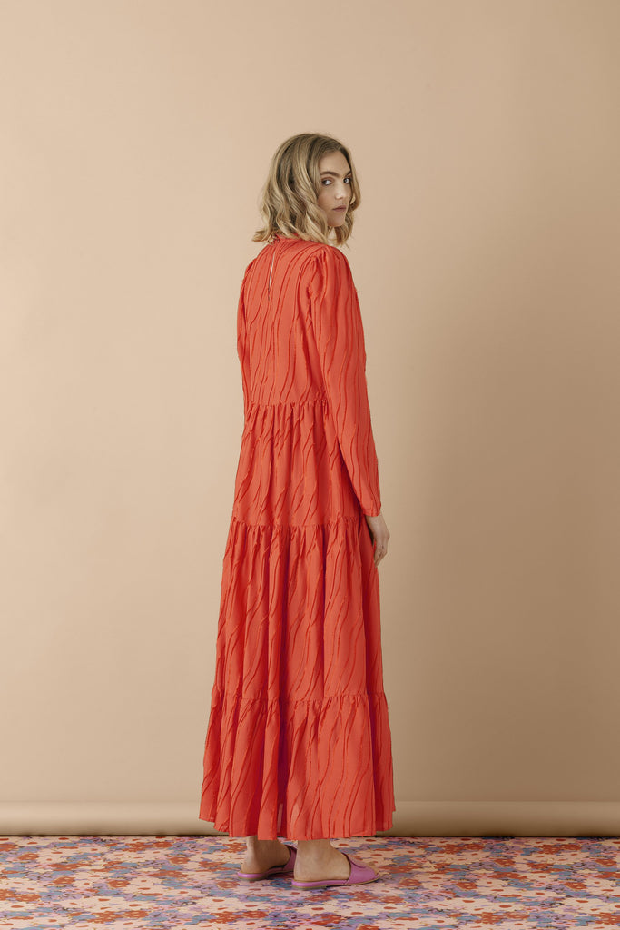 Judy Dress in Red Orange Devore