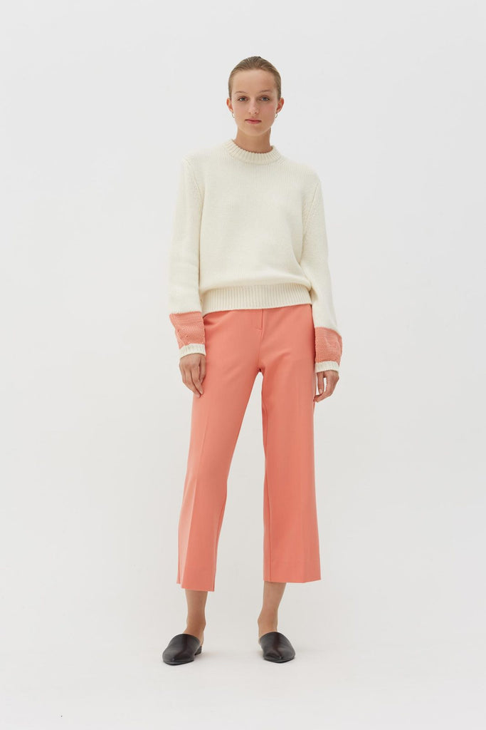 Pop Cuff Sweater Cream/Dusty Rose