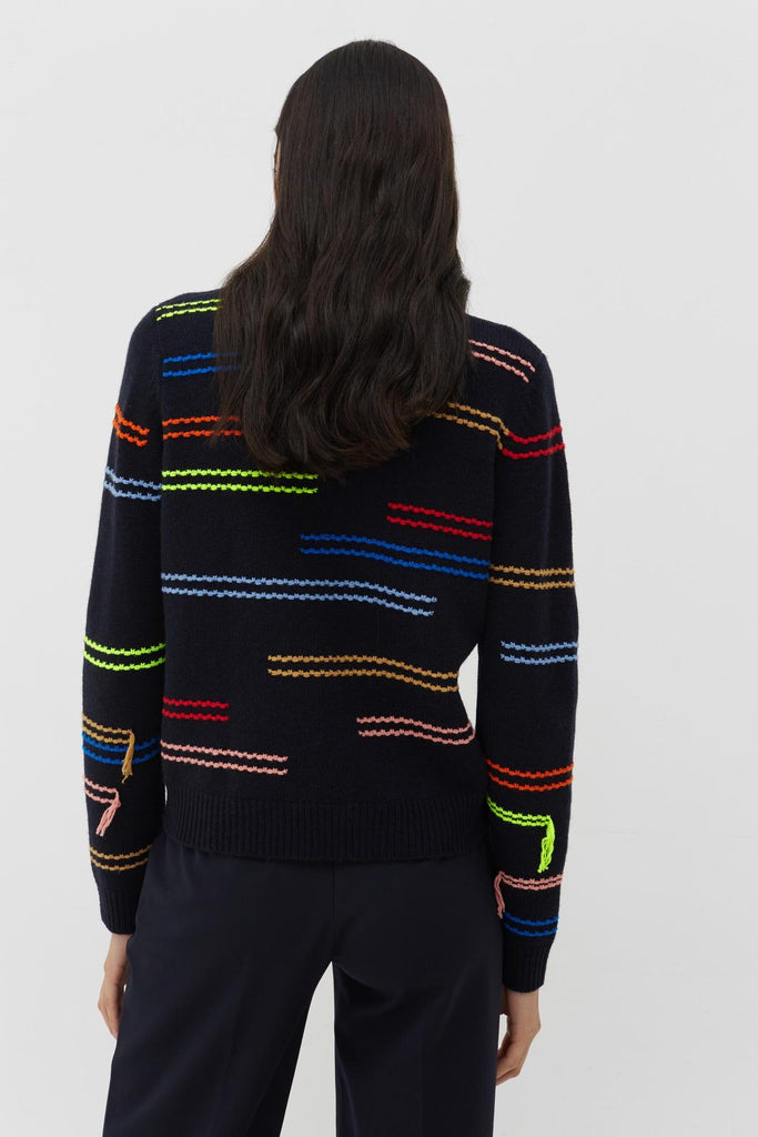 Horizontals Sweater Navy/Multi