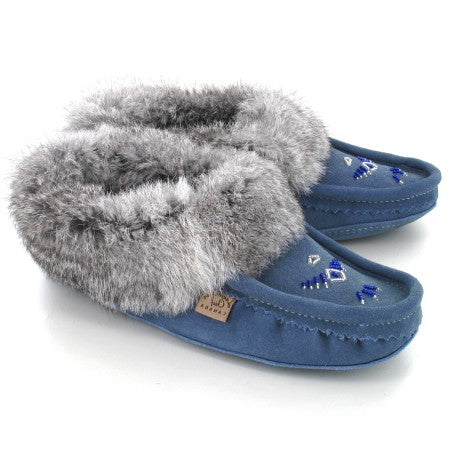 Ladies Fur Trim Slipper in Sky Blue