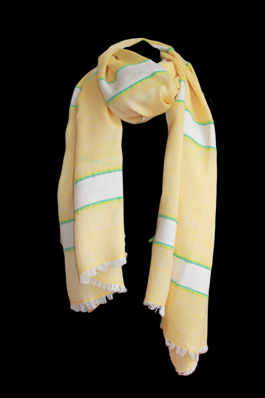 Lemon & Cream Stripe Shawl