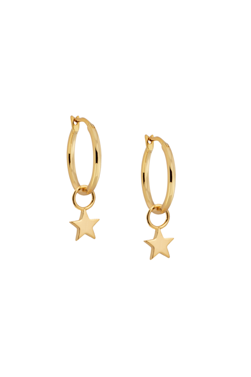 15mm Gold Hoop Earrings with Charm