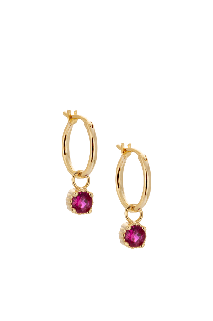 10mm Gold Hoop Earrings with Charm