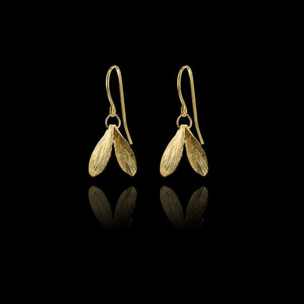 Gold Plated Mini Double Leaf Earrings